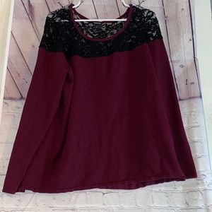 Torrid Sweater Burgundy with black lace